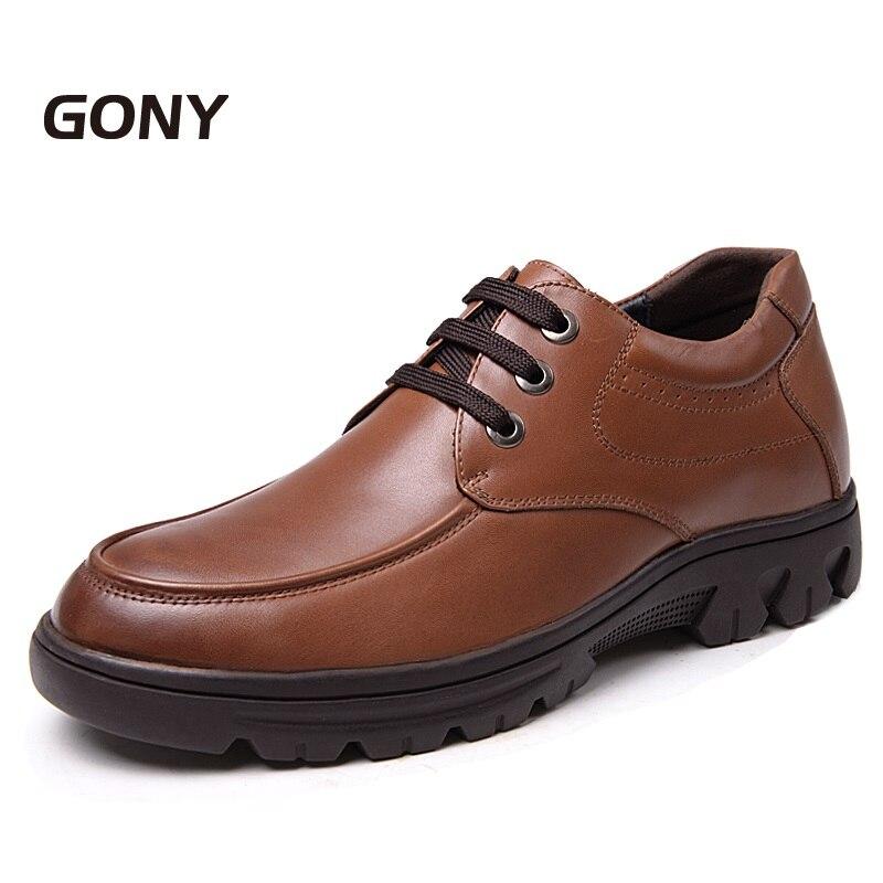 Mode Hauteur D'affaires En Derbies Croissante Black 8 Véritable Cuir Chaussures Intérieure Hommes Décontracté Invisible Nouvelle brown Semelle Cm QdshCBtrx