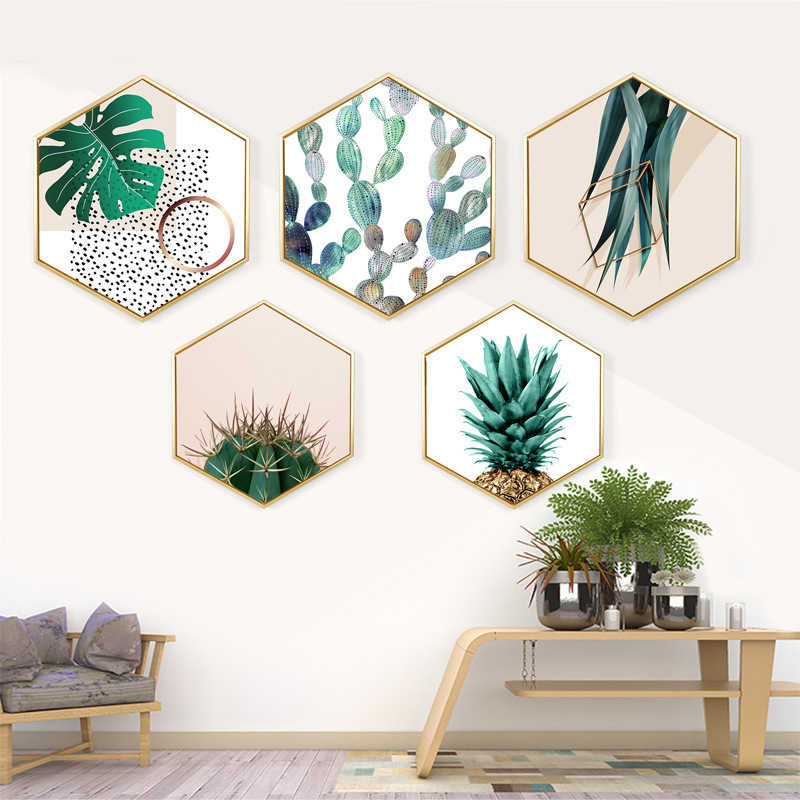 Northern European Style Canvas Painting Hexagon Wall Pictures For Living Room Framed Mirrors Europe Hallway Plant Tree leaf