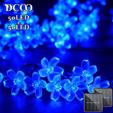Solar String Lights 21ft 50 LED Fairy Flower Blossom Decorative Light Patio Party Xmas Tree Decorations 2-PACK Blue(China)
