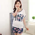 Women summer Pajamas sets short sleeve Soft home Wear cotton Floral Printed pyjama sleepwear lace Pijama suits women 3XL