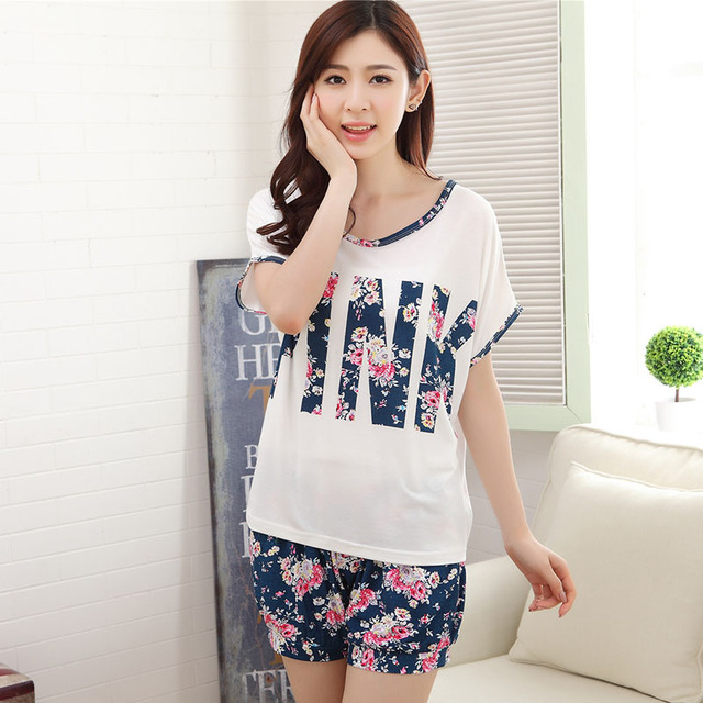 f01032860 Women summer Pajamas sets short sleeve Soft home Wear cotton Floral Printed  pyjama sleepwear lace Pijama
