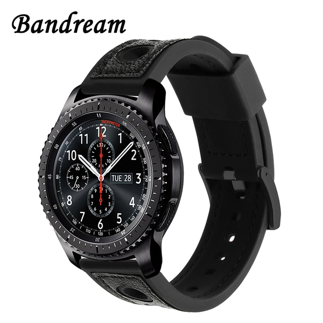 Genuine Leather + Silicone Rubber Watchband for Samsung Gear S3 Classic Frontier