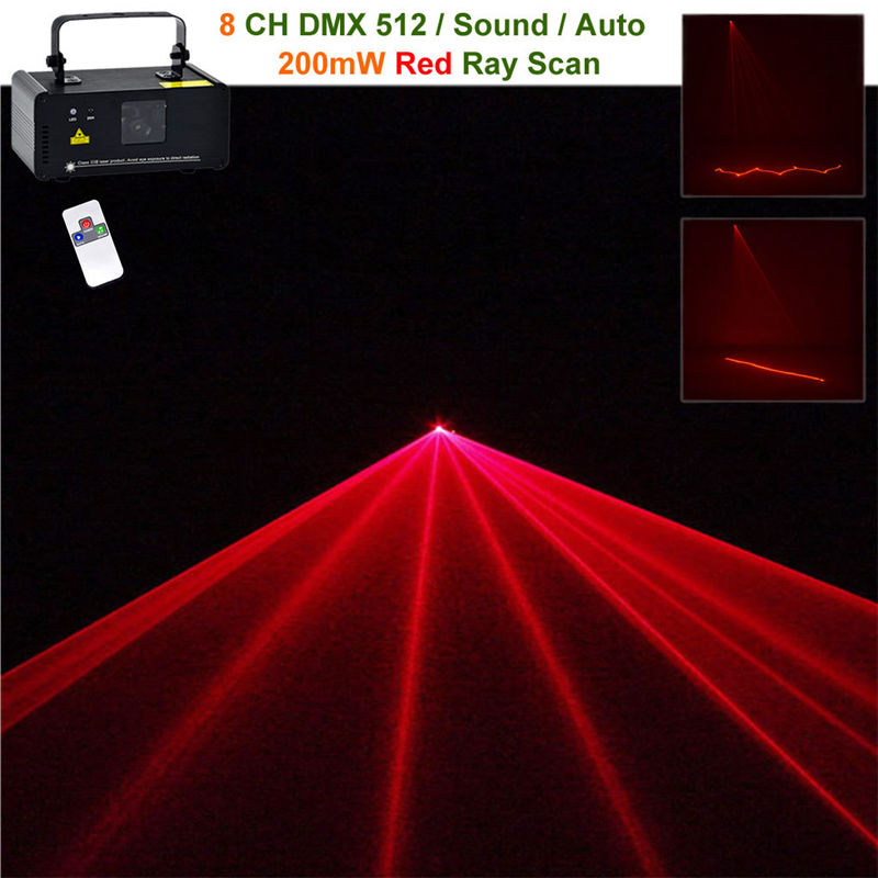 Mini 200mw Red Beam Laser Stage Lighting Scanner 8CH DMX PRO Wireless Remote DJ Party Home Show Projector Equipment Lights R200 aucd mini remote 200mw red 8 ch dmx 512 laser suny stage lighting scanner dj party show projector equipment lights dm r200