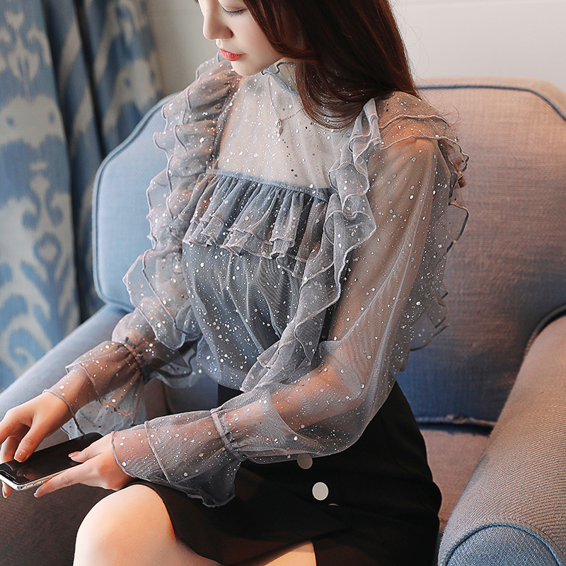 Sexy Chiffon   Blouse     Shirt   Women Tops Autumn Bling Ruffle   Blouse   Chemise Femme Transparent Long Sleeve Camisa female high quality
