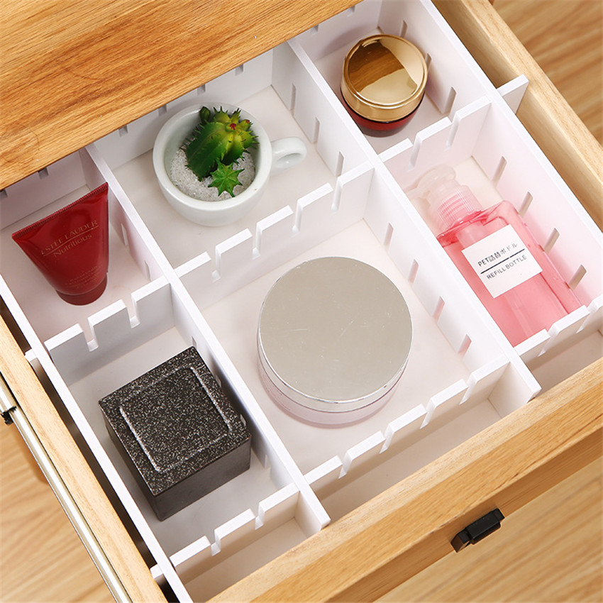 VOGVIGO Adjustable Plastic Drawer Closet Grid Divider Tidy Organizer Container Home Storage Drawers Dividers