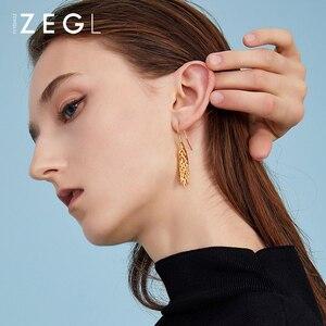 Image 4 - ZEGL female earrings gold earrings wheat ear burst models long earrings pendant earrings European and American niche rural style