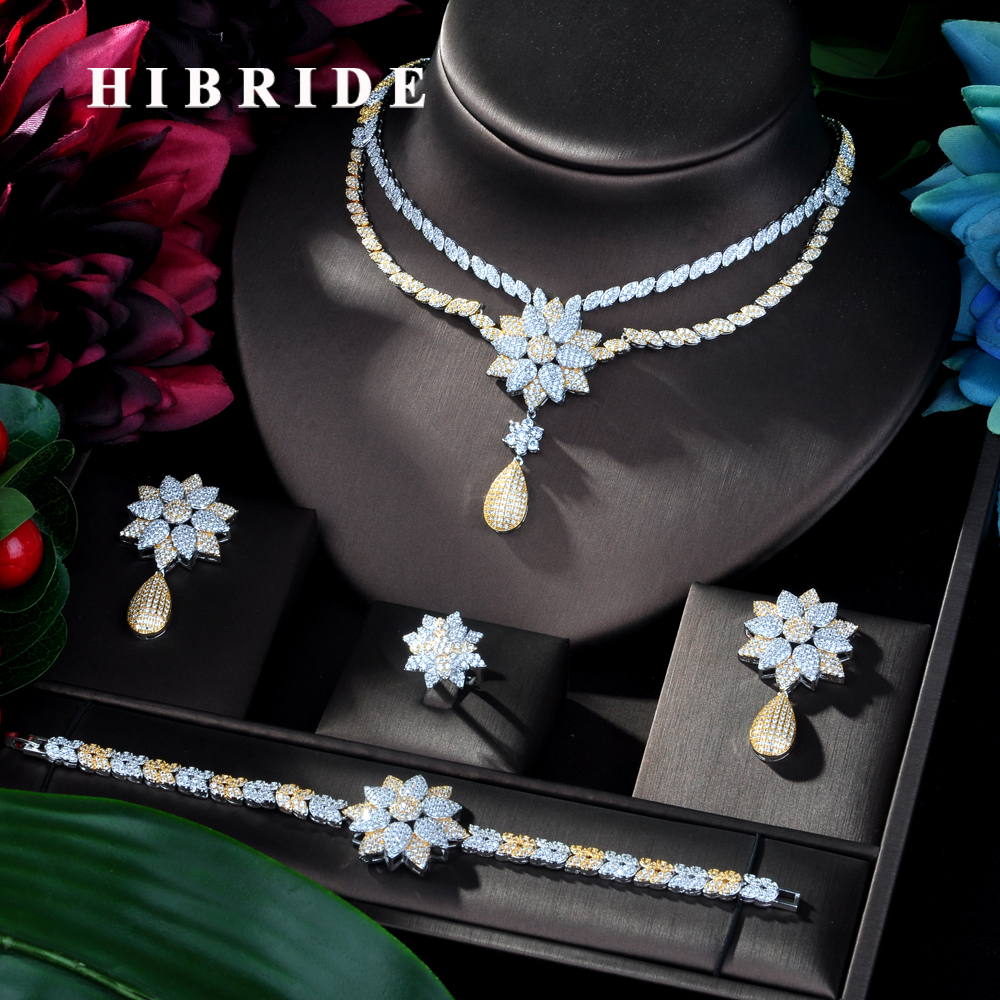 HIBRIDE 2 Tones 4pcs Bridal Zirconia Jewelry Sets for Women Party Luxury Dubai Nigeria CZ Flower