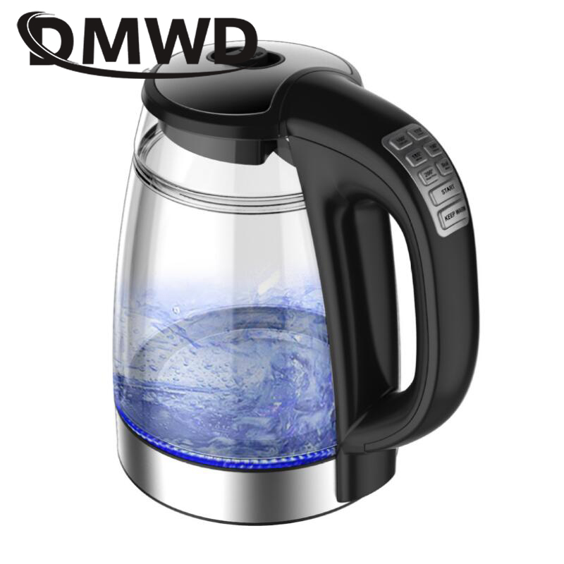DMWD Electric Kettle Teapot Thermal Heating Hot Water Boiling Glass Pot Blue Light Anti-hot Constant Temperature Control Boiler цена