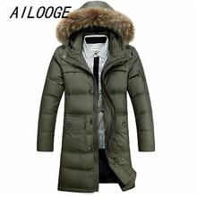 Mens Casual thick Down Coat Men Winter 90% White Duck Down Long Jacket Overcoat parkas male Warm Jackets Plus size 4XL Coats
