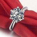 1 Карат Круглый Cut Sona Синтетических Алмазов Кольцо Женщины Обручальное Стерлингового Серебра 925 nscd Обручальное Кольцо Невесты Кольцо Диапазона