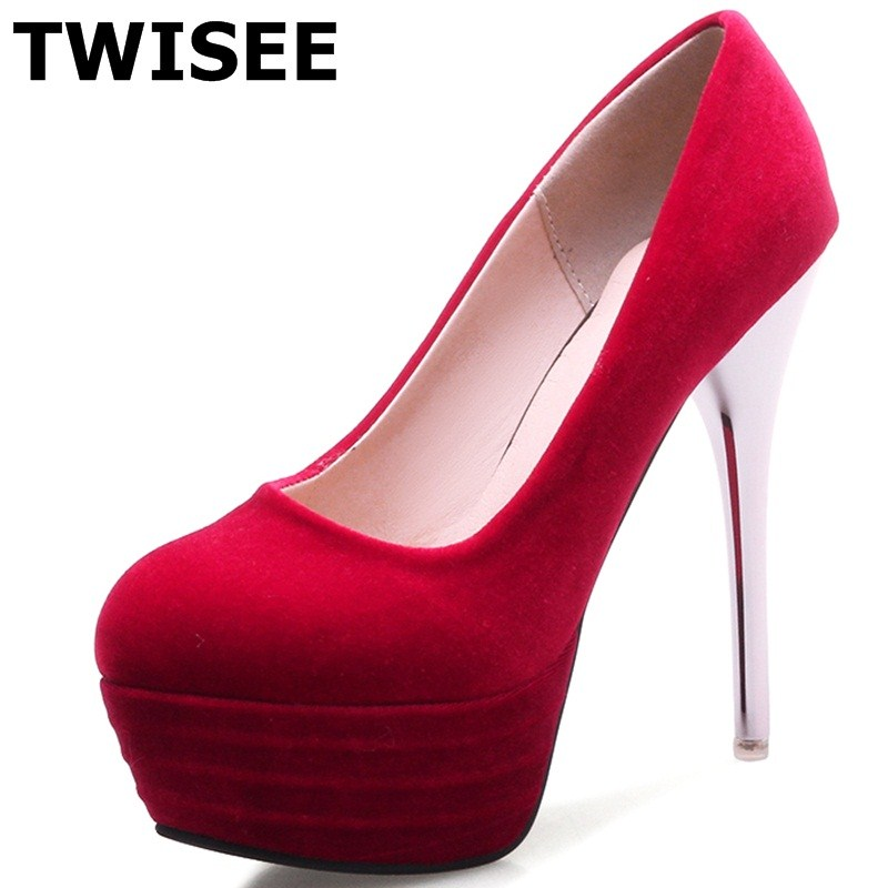 TWISEE woman wedding shoes summer pumps Flock Thin Heels Comfortable Pointed Toe zapatos mujer women high heels shoes Beautiful bowknot pointed toe women pumps flock leather woman thin high heels wedding shoes 2017 new fashion shoes plus size 41 42