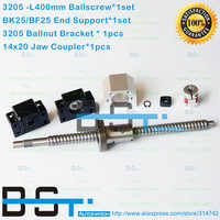 3205 Ballscrew RM3205 -L 400mm Ball Screw + SFU3205 Ballnut + BK25 BF25 End Support + 3205 Ballnut Housing +14x20mm Jaw coupler