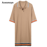 2018 Summer New Fashion Women Dress Short Sleeve Turn Down Collar Stripes Knitted Thin Straight Tube Loose Dresses