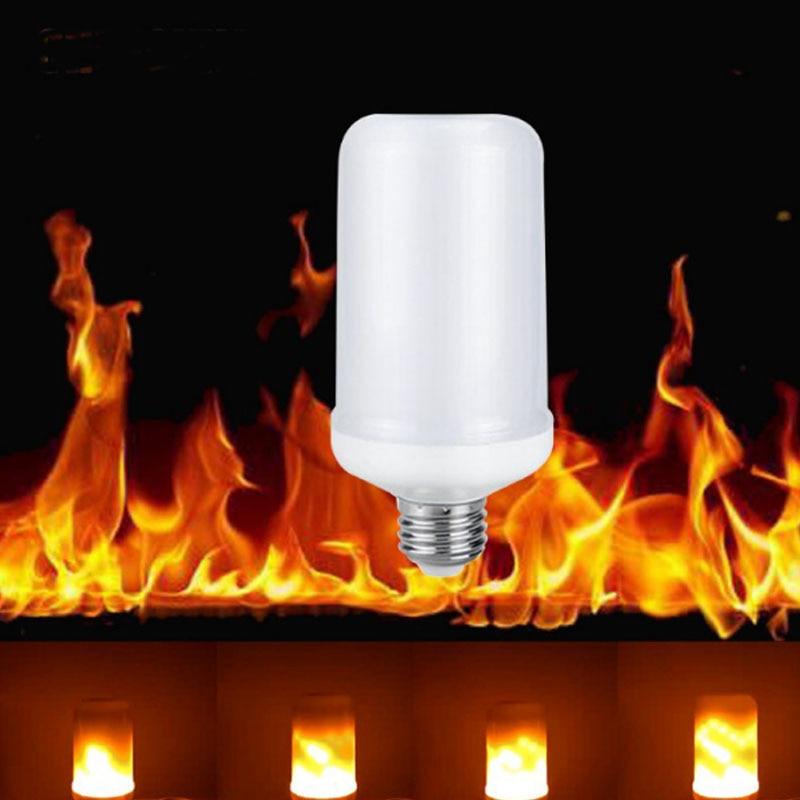 Dynamic Flame Effect E27 LED Corn Bulb Lamps 85V-265V 3 Modes Emulation Fire Burning Flicker Lantern Holiday Decorate light