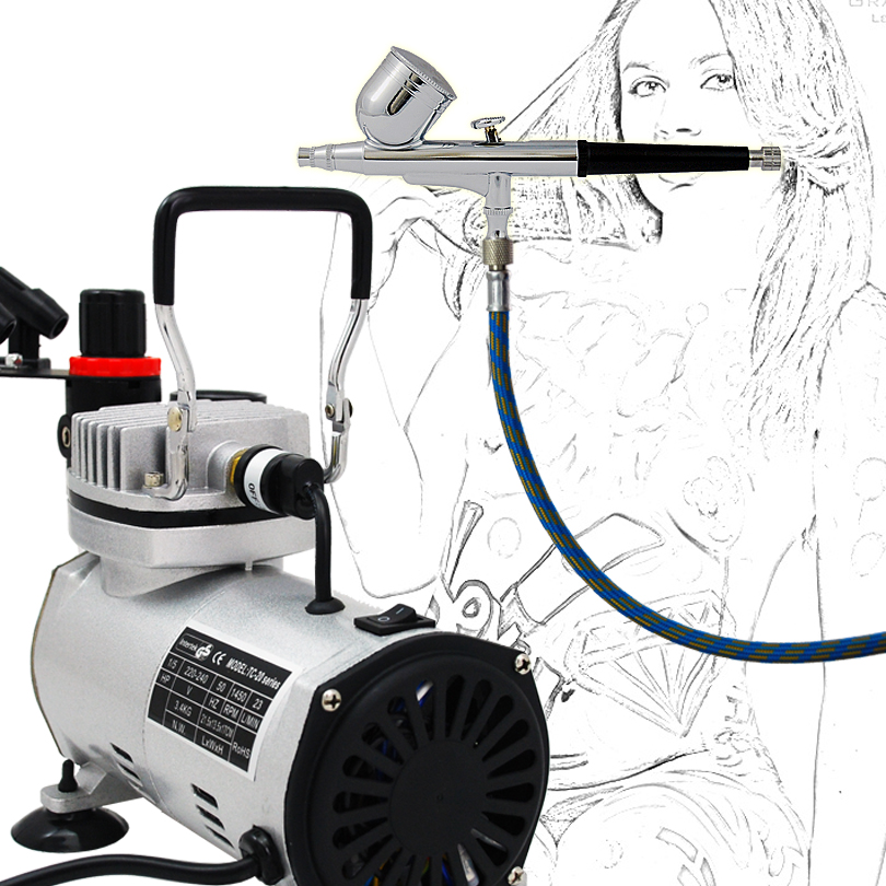 Precision Airbrush Model AB-130 airbrushing system with TC-20B Air Compressure For Temporary Tattoo Body Paint Cake Decorating