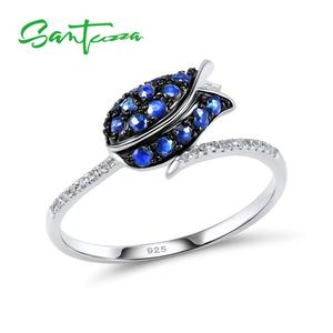 Image 1 - SANTUZZA Silver Ring For Women 925 Sterling Silver Full Of Love tulip Flower Ring Blue Nano Cubic Zirconia Ring Fashion Jewelry