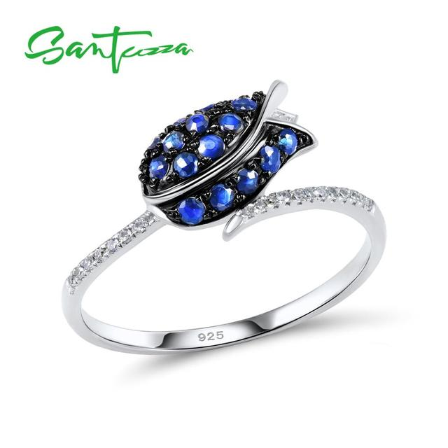 SANTUZZA Silver Ring For Women 925 Sterling Silver Full Of Love tulip Flower Ring Blue Nano Cubic Zirconia Ring Fashion Jewelry