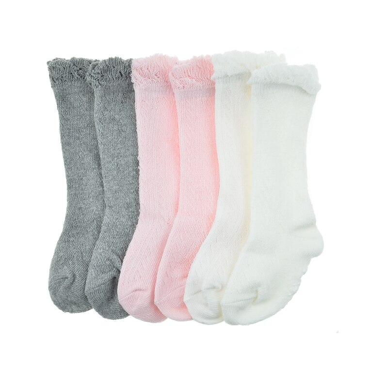 Гольфы для маленьких девочек хлопок Носки принцессы Летние сплошной цвет розовый белый серый новорожденного Носки для От 0 до 2 лет вещи мла...
