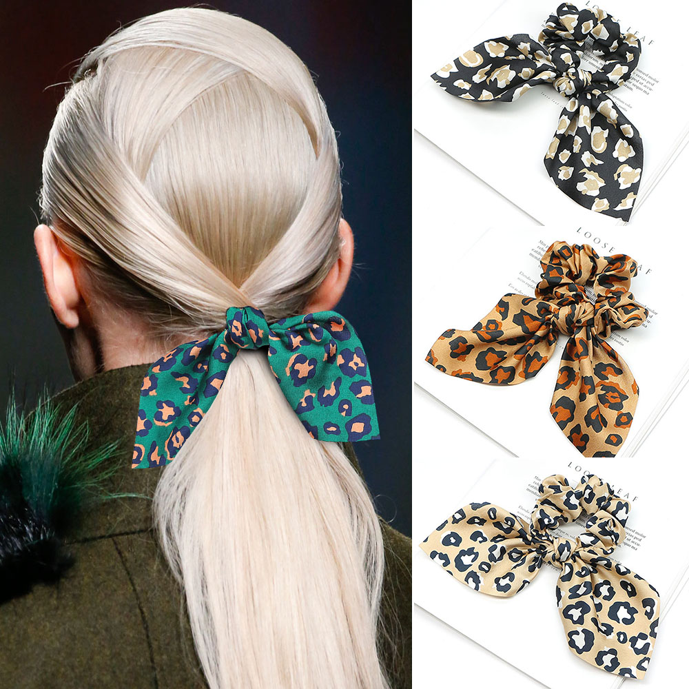 Fashion Hair Bow For Women Rubber Bands Tiara Leopard Ribbon Hair Scrunchie Elastic Hair Bands Ponytail Holders Hair Accessories