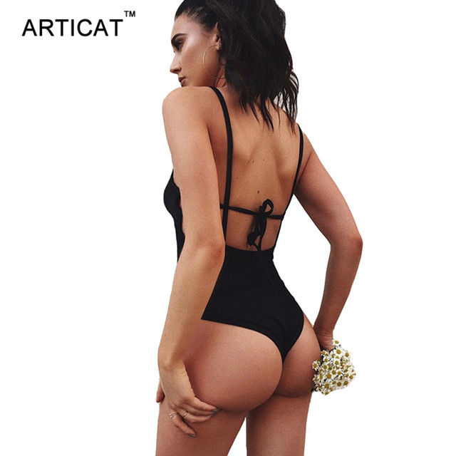 4591055e77 Articat Strappy Backless Bodysuit Women Tops Black Sleeveless Summer Beach  Overalls Sexy Skinny Romers Womens Jumpsuit Cami Body