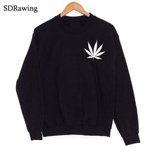 Weed Plant print Sweatshirts Leaf Graphic Sweatshirts Fashion Women tops Casual Cotton Funny Sweatshirts women's clothing(China)