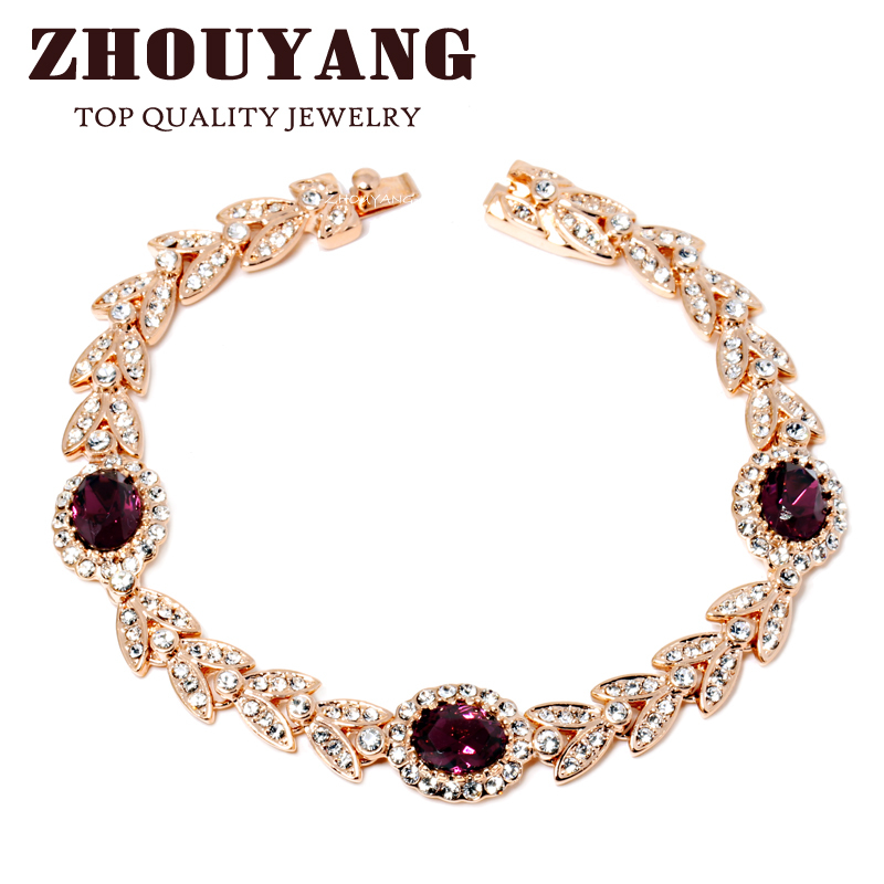 ZHOUYANG Top Quality ZYH121 Created Emerald Purple Crystal Rose Real Gold Plated font b Bracelet b