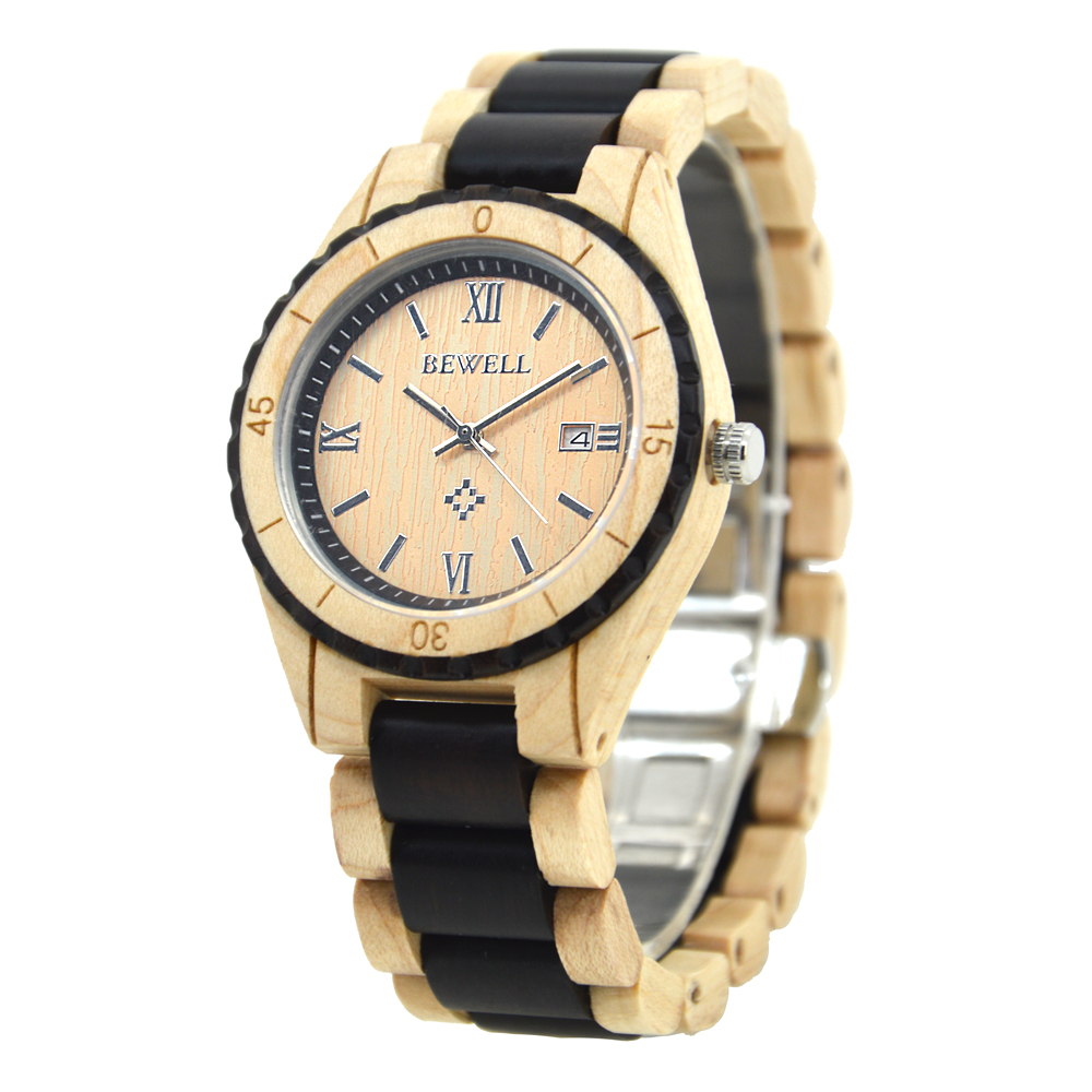 BEWELL Mens Luxury Brand Watch Simple Big Dial 100% Natural Wood Quartz Wristwatches with Calendar Perfect Gift for Family 128AG