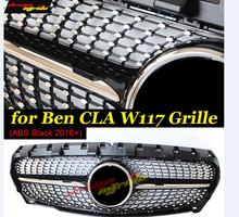 Fits For MercedesMB w117 Diamonds Front grille Sports ABS Grille Black W117 CLA180 CLA200 CLA250 Grills Without sign 2016+