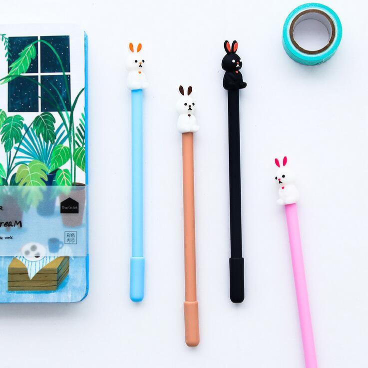 4pcs/lot 0.5 mm Jump Short Ears Rabbit  Gel Ink Pen Promotional Gift Stationery School & Office Supply
