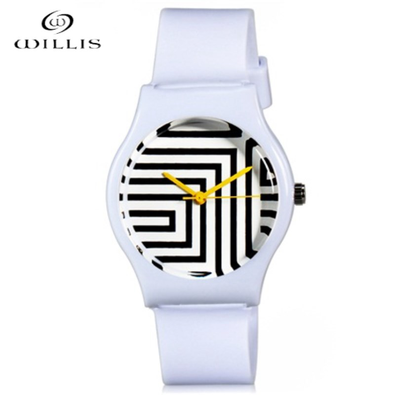 все цены на WILLIS Brand Wrist Watch Women Maze Design Watch Quartz Fashionable Leisure Girls waterproof Watch Zebra Pattern Silicone Strap онлайн