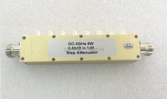 Envío Libre RF DC-3GHz 5 W 0 ~ 60dB $ number db Paso Botón ajustable Atenuador Coaxial conector n hembra