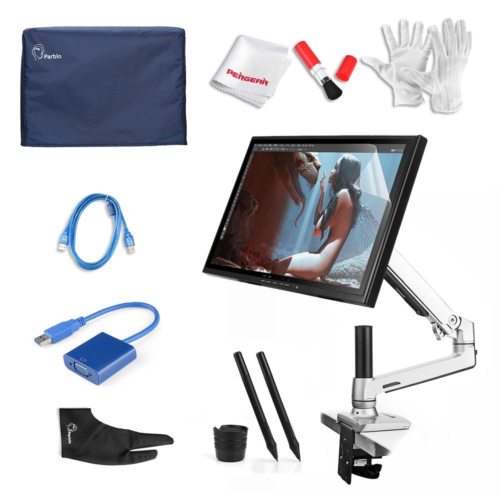 2 Pens UGEE UG-1910B Kit 19 Art Graphic DigitalTablet LCD Monitor DrawingTablet + Desk Mount+Protector+Cove +Glove + USB Cable