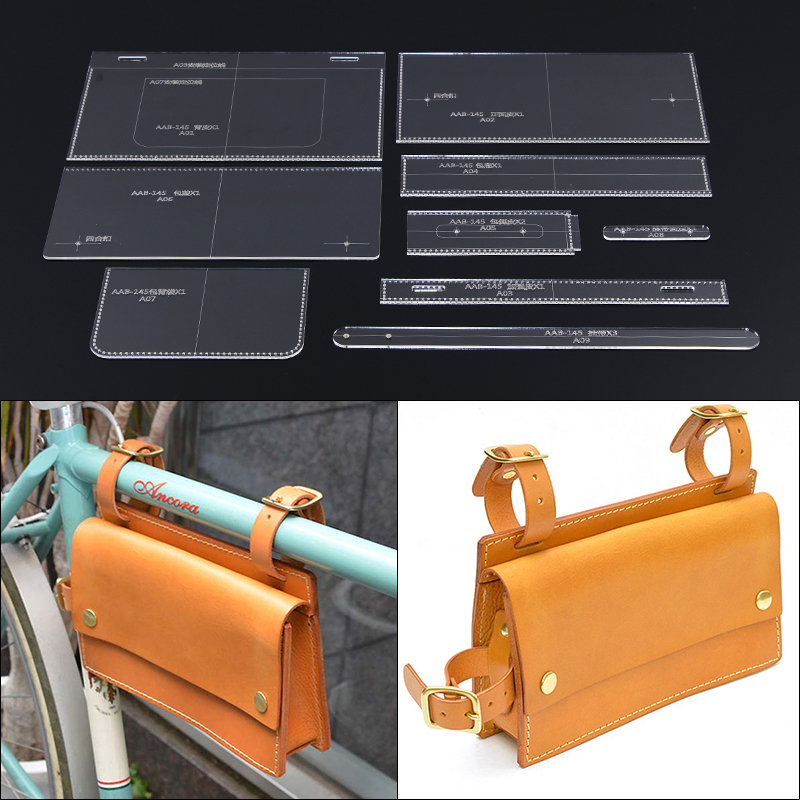 Leather Goods Bicycle bag Acrylic Stencil Laser Cut Template DIY Handmade Leather Craft Tool Sewing Pattern 25*15*4.5cm
