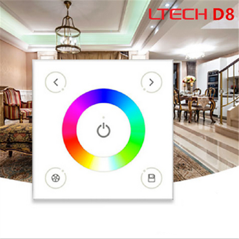 LTECH D8 LED rgb RGBW touch panel dimmer controller DMX512 controller,DC12-24V 4 zones 4channels DMX 512 control, Output DMX512 4 channel 5a rgbw dmx 512 led decoder controller dmx dimmer use for dc12 24v rgbw rgb led light