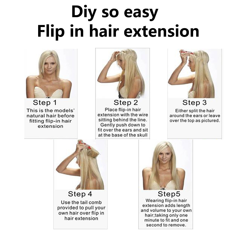 Linen Blonde Synthetic Weave Hair Extensions Straight Flip In Haar