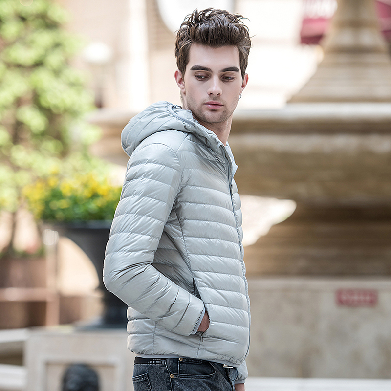 2019 Down Jacket Men Winter Portability Warm 90 White Duck Down Hooded Solid Silm Fit Man Down Coat Waterproof Men S 3XL in Down Jackets from Men 39 s Clothing