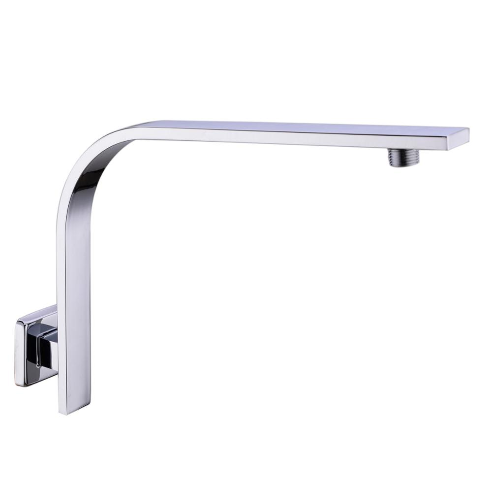 304 Stainless Steel GOOSENECK Square Chrome Rain shower Wall Mounted Shower Arm for shower head free shipping wall mount 10 inch stainless steel rain shower head brass shower arm chrome finish