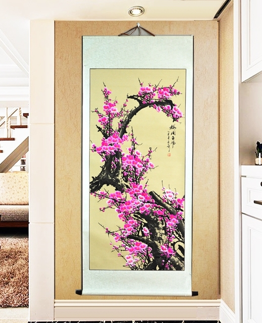 Large Scroll Painting by unmbers Handpainted / Vintage Japanese Pink ...