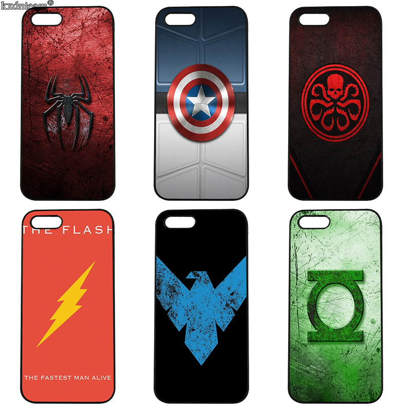 Cartoon Superhero Logo Cell Phone Cases Hard PC Plastic Cover for iphone 8 7 6 6S Plus X 5S 5C 5 SE 4 4S iPod Touch 4 5 6 Shell