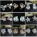 Mix lot wholesale high quality silver and gold plated CZ stud earrings