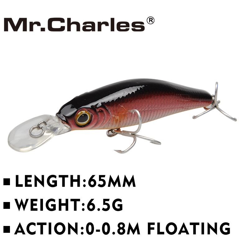 Mr.Charles MR080 1 pcs Fishing Lures 65mm/6.5g 0-0.8m Floating Minnow Crankbaits Bearking Hot Model 3D Eyes Hard Bait рыболовный поплавок night fishing king 1012100014 mr 002