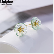 Uglyless Pretty Transparent Green Fluorite Sakura Earrings for Women 100% Real Solid 925 Silver Floral Studs Gold Fine Jewelry