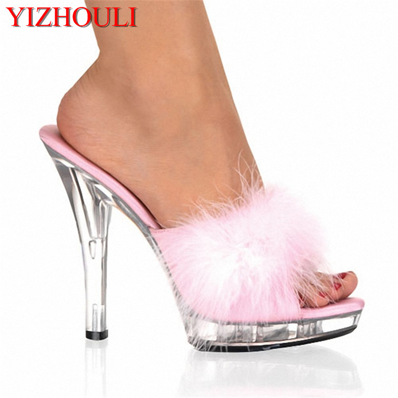 <font><b>High</b></font> <font><b>Heels</b></font> 13CM Stripper Shoes Plump Feathered Crystal Shoes Hot <font><b>Sexy</b></font> <font><b>Platform</b></font> Women's <font><b>Sandals</b></font> image