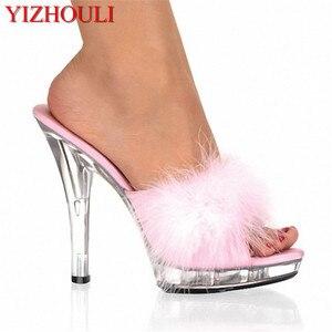 Hoge Hakken 13 Cm Stripper Schoenen Mollige Gevederde Crystal Schoenen Hot Sexy Platform Vrouwen Sandalen(China)