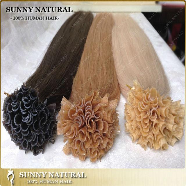 Dark Brown Blonde Keratin U Tip Brazilian Nail Tip Fusion Human Hair