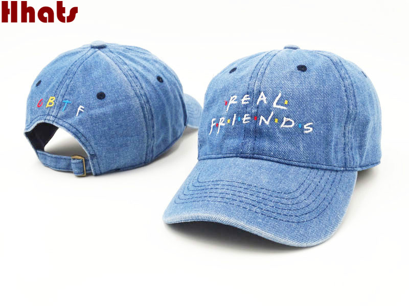 which in shower embroidery real friend denim hat unisex dad hat fashion summer snapback   baseball     cap   fishing bone for women men