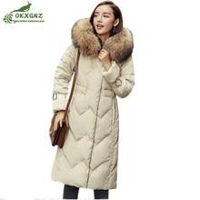Зимнее женское пальто средней длины, большой меховой воротник, с капюшоном, Толстая теплая верхняя одежда, Женская Высококачественная Белая куртка на утином пуху, парки