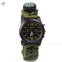 Outdoor Camping Compass Watch Whistle Survival Gear Paracord Cutting Knife Rescue Rope SOS Equipment Tools Christmas emak survival watch outdoor camping medical multi functional compass thermometer rescue paracord bracelet equipment tools kit