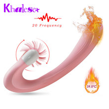 Khalesex Heating Unique Brushes 20 Speed Rotation lick Clitoris Powerful Vagina Dildo Vibrator G Spot Massage Sex Toys for Woman