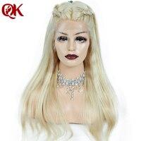 QueenKing волос 180% Плотность Европейский человеческих волос Full Lace парик блондинка 613 Шелковистой Прямо натуральных волос Волосы remy